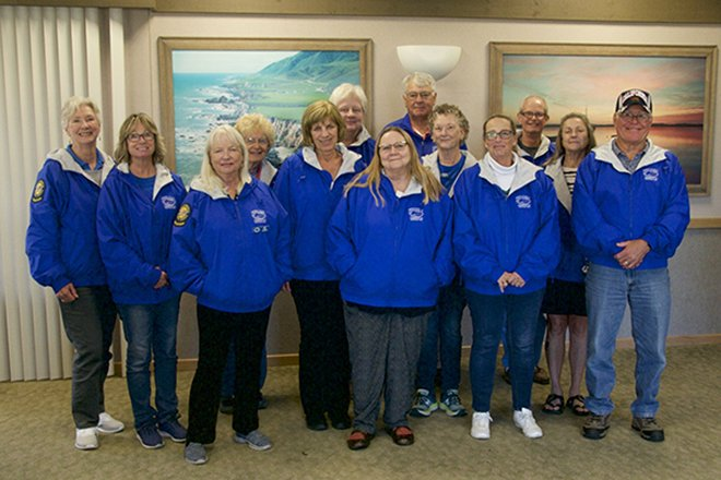 Docents Wear Blue Jackets at the Rookery
