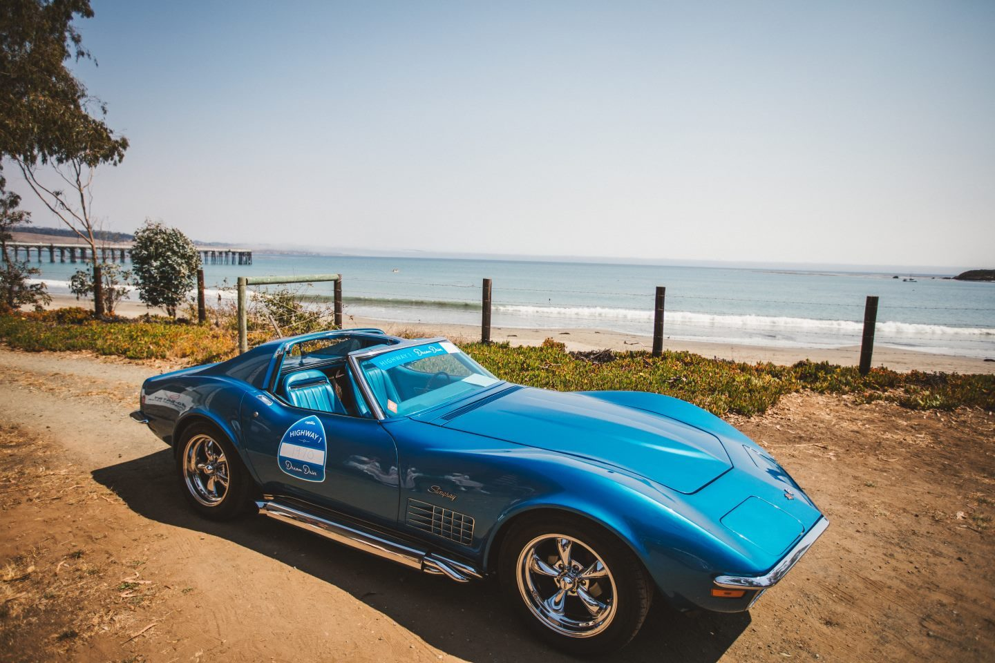 A Blue Stingray Corvette at the Dream Drive