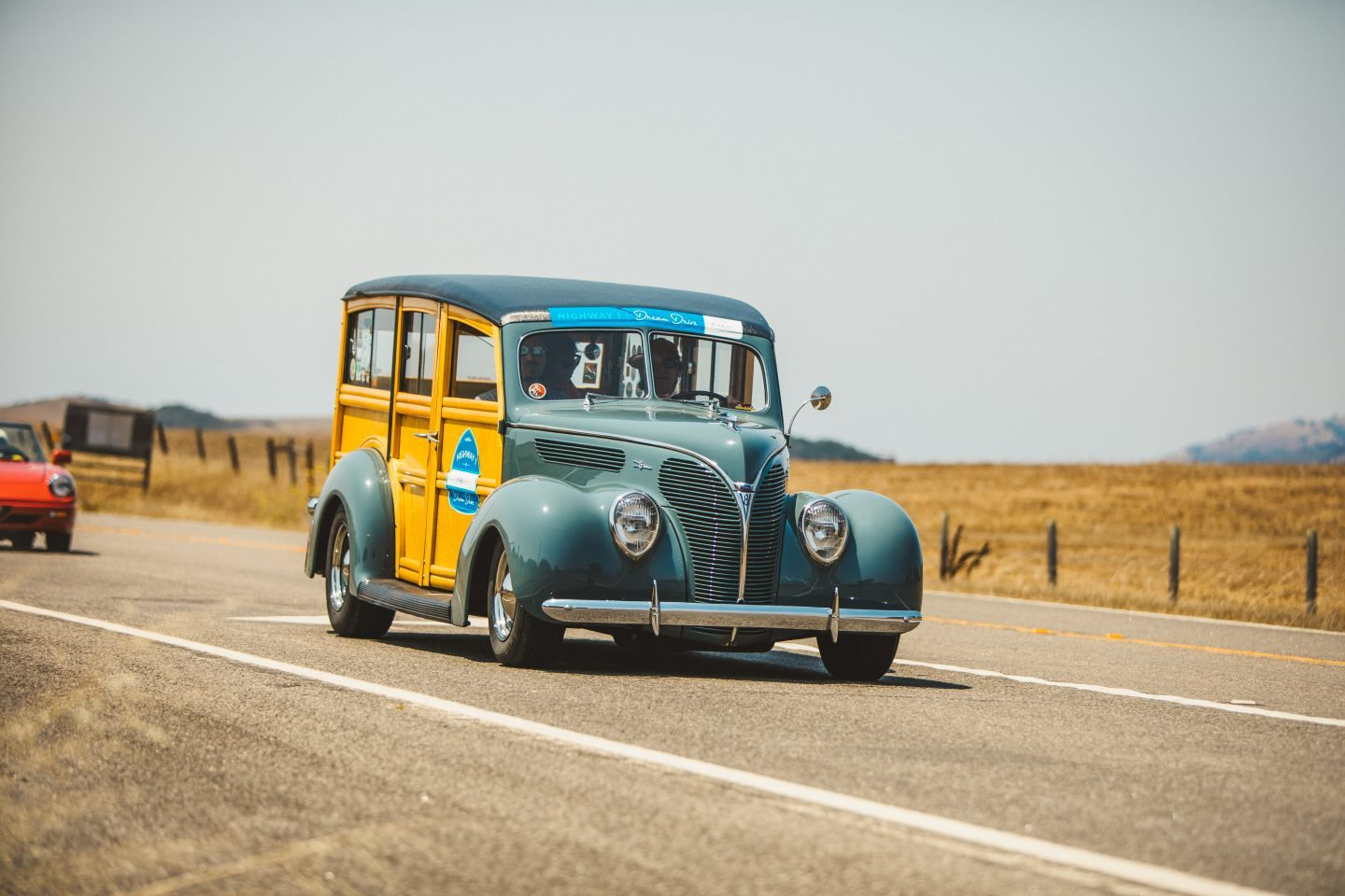 A woody on Highway 1 at the Dream Drive