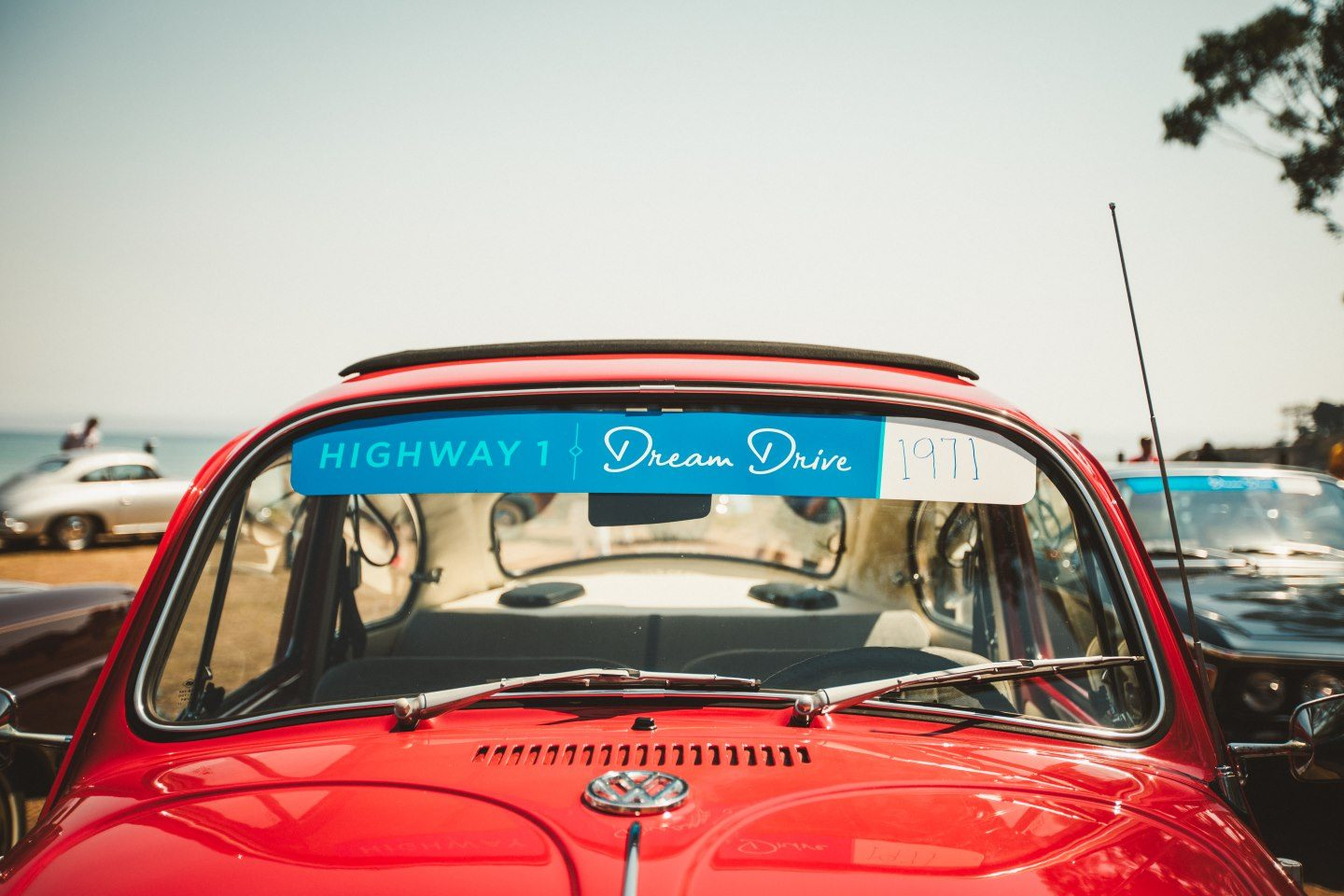 An old VW Beetle on Highway 1 at the Dream Drive