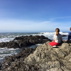 Kids in the tide pools in San Simeon, CA