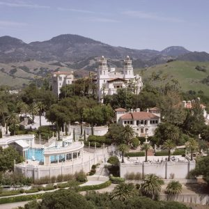 Aerial panoramic view of Hearst Castle in San Simeon, CA